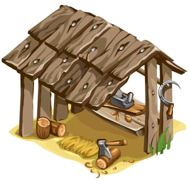 Workplace of woodman or carpenter. Vector isolated