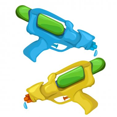 Blue and yellow kids toy water pistols. Vector