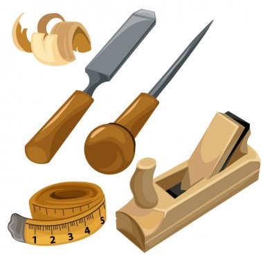 Working tools of a carpenter. Vector set isolated