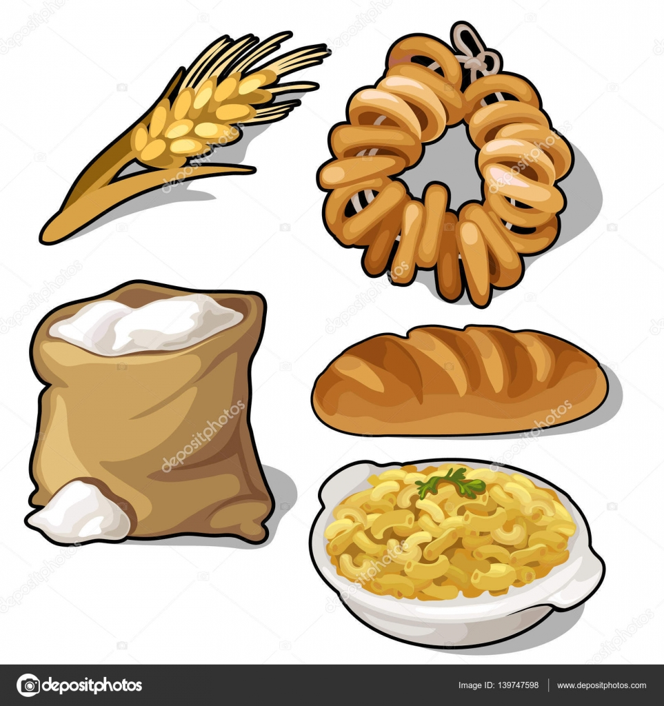 Set Of Flour Loaves Bagels Cereal And Ear Stock Vector