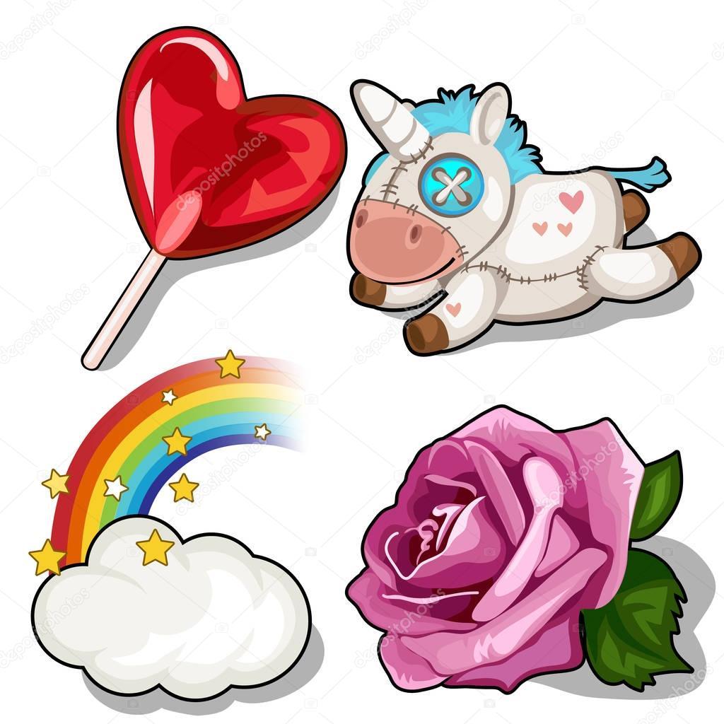 Set of heart lollipop, unicorn, rose and rainbow