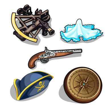 Vector set of pirate hat, gun, and antique compass
