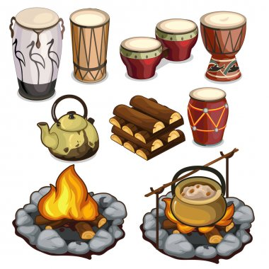 Musical instruments drums and elements of camping