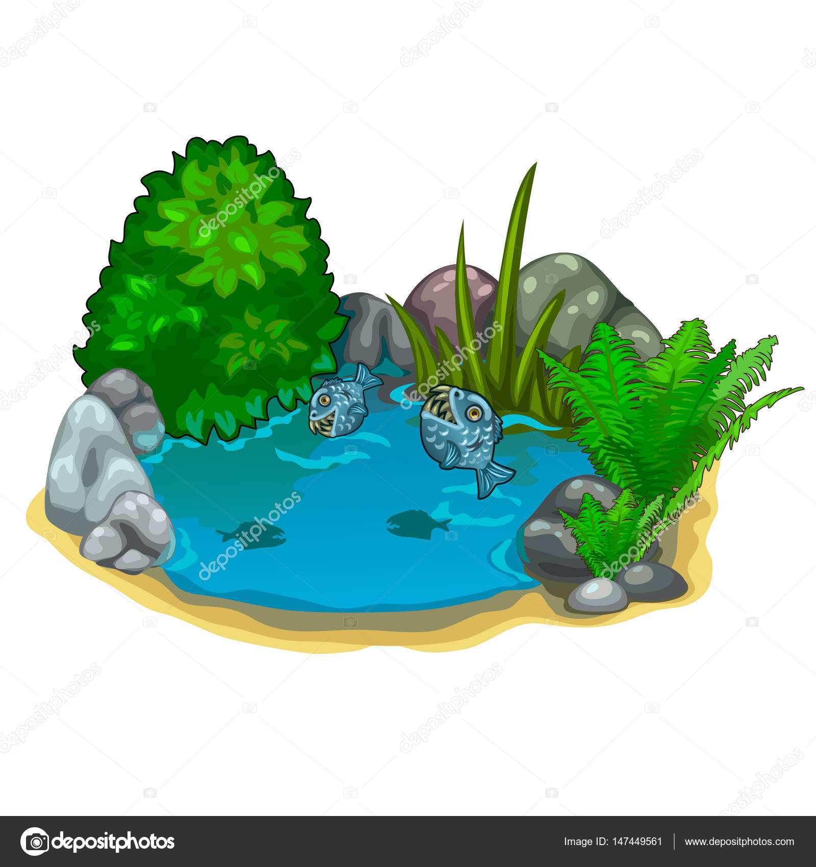 Rybn k s drav piran rostlinami a kameny stock vektor for Lonas para estanques de peces