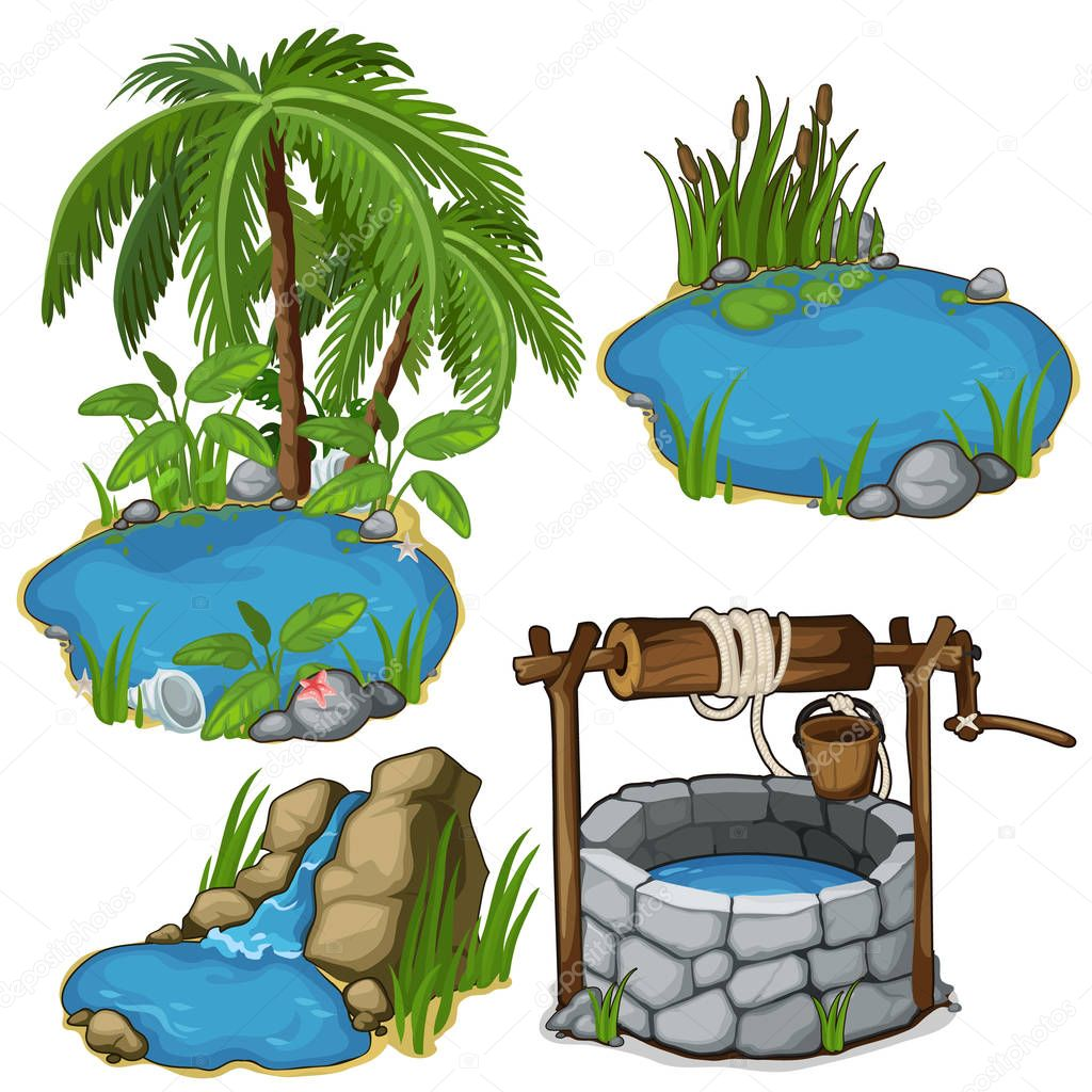 Vector miniature different ponds with classic well
