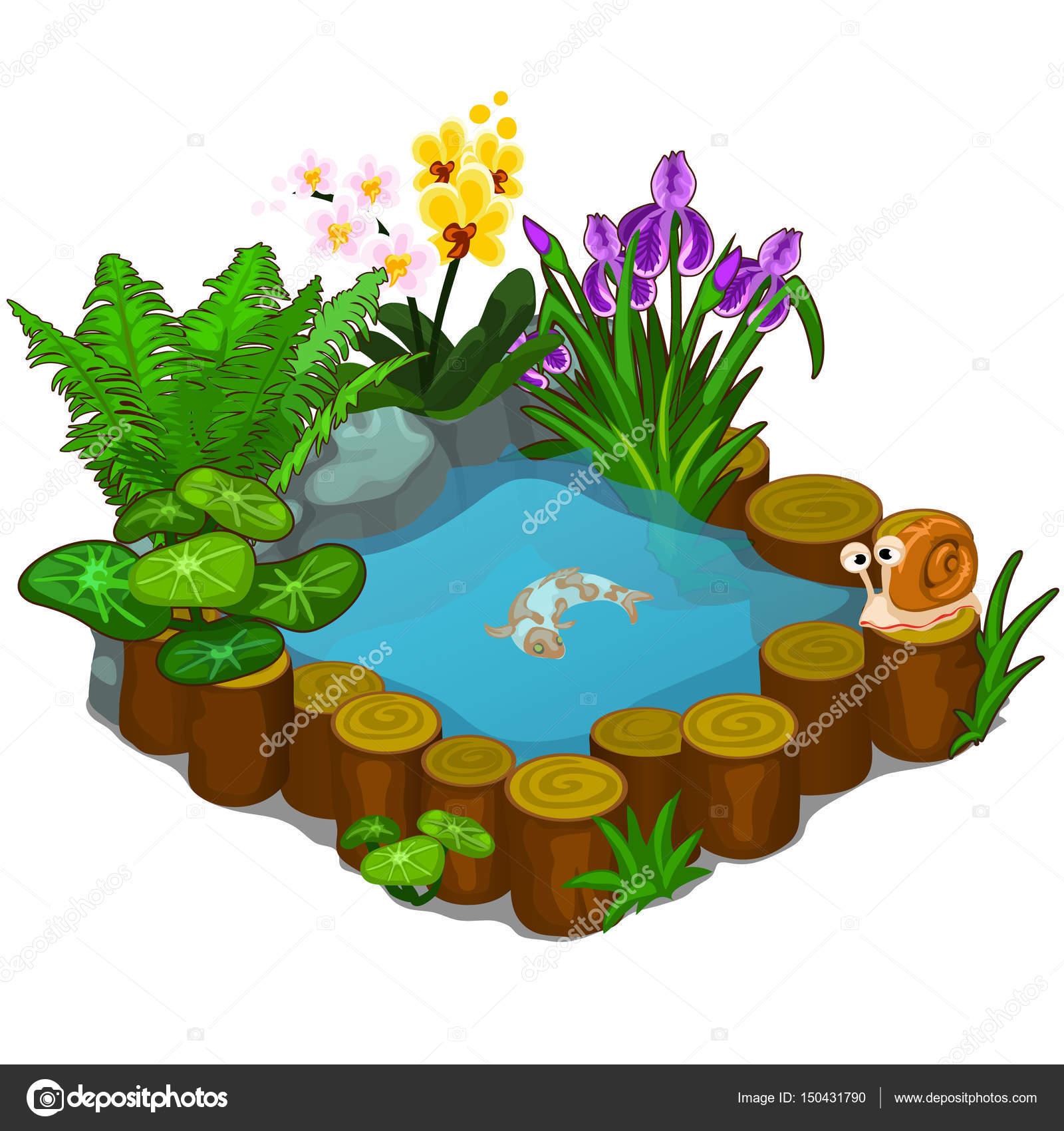 Hermoso estanque con caracol peces y flores vector de for Estanque de agua para peces