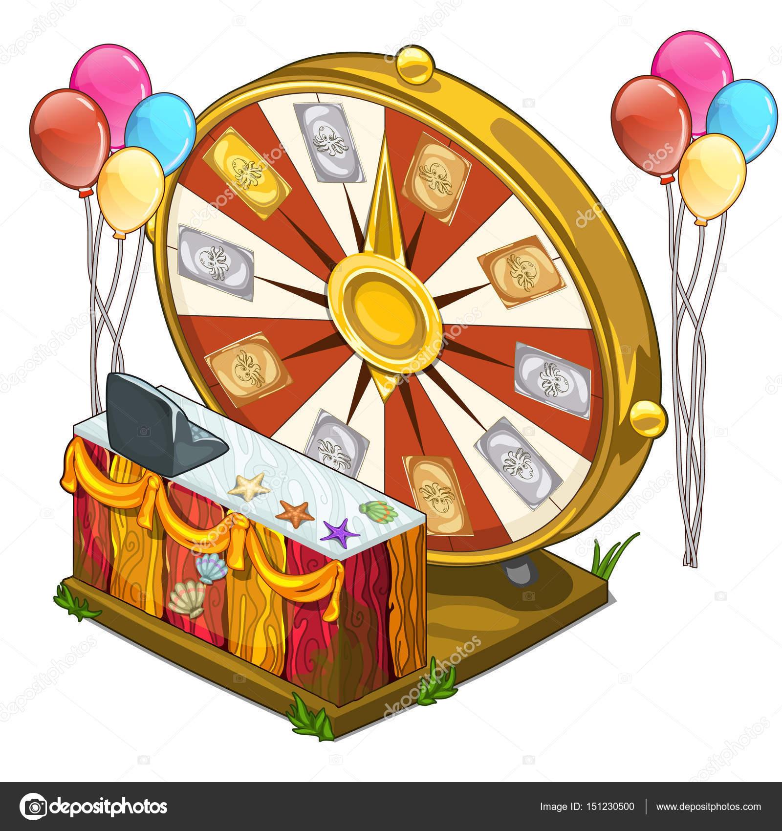 Festiva rueda de la fortuna con globos coloridos — Vector de stock ...