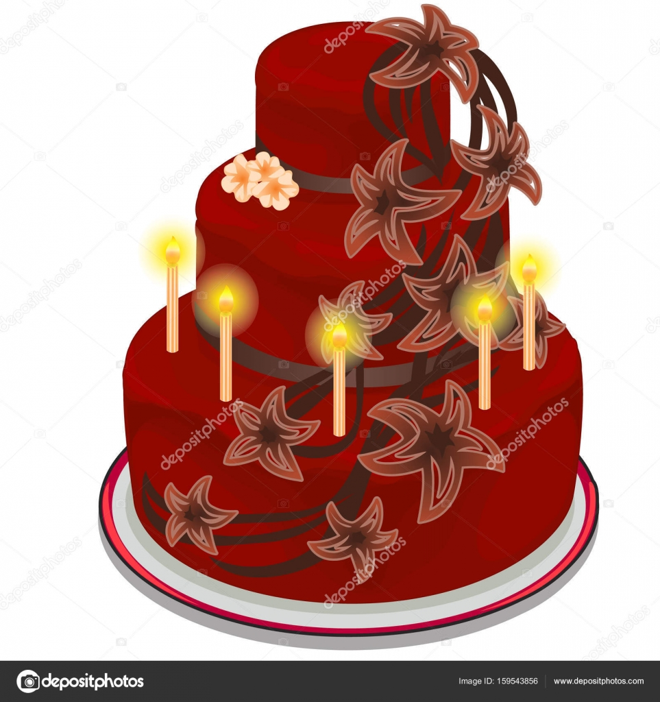 Red festive cake with burning candles and decorated with flowers red festive cake with burning candles and decorated with flowers birthday wedding anniversary izmirmasajfo