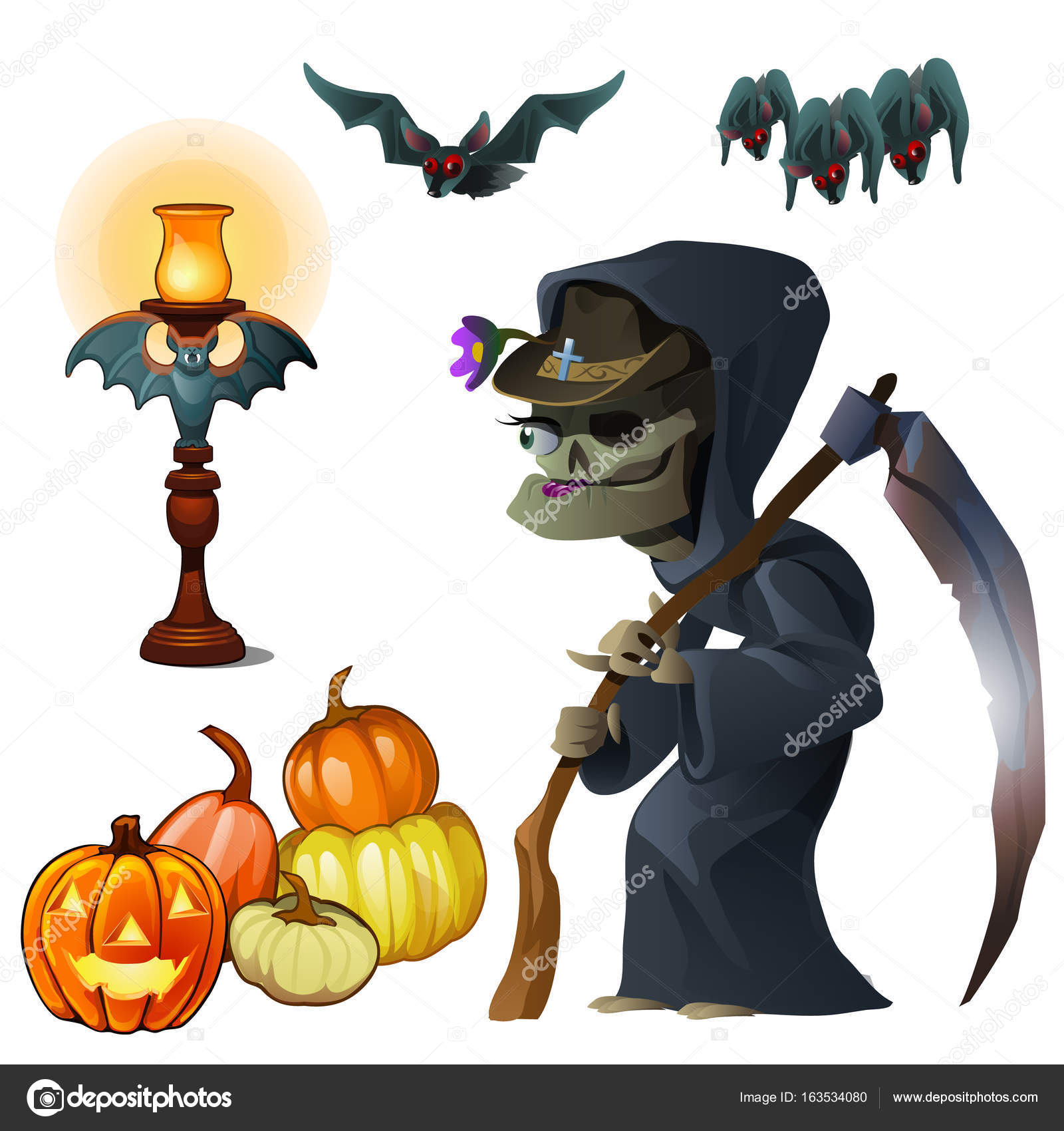 Old witch with scythe, pumpkin lantern and bats. Symbols of ...
