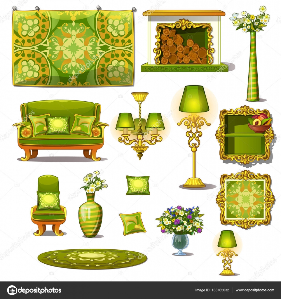 Furniture Green Vintage Style Big Vector Set Sofa With Cushions