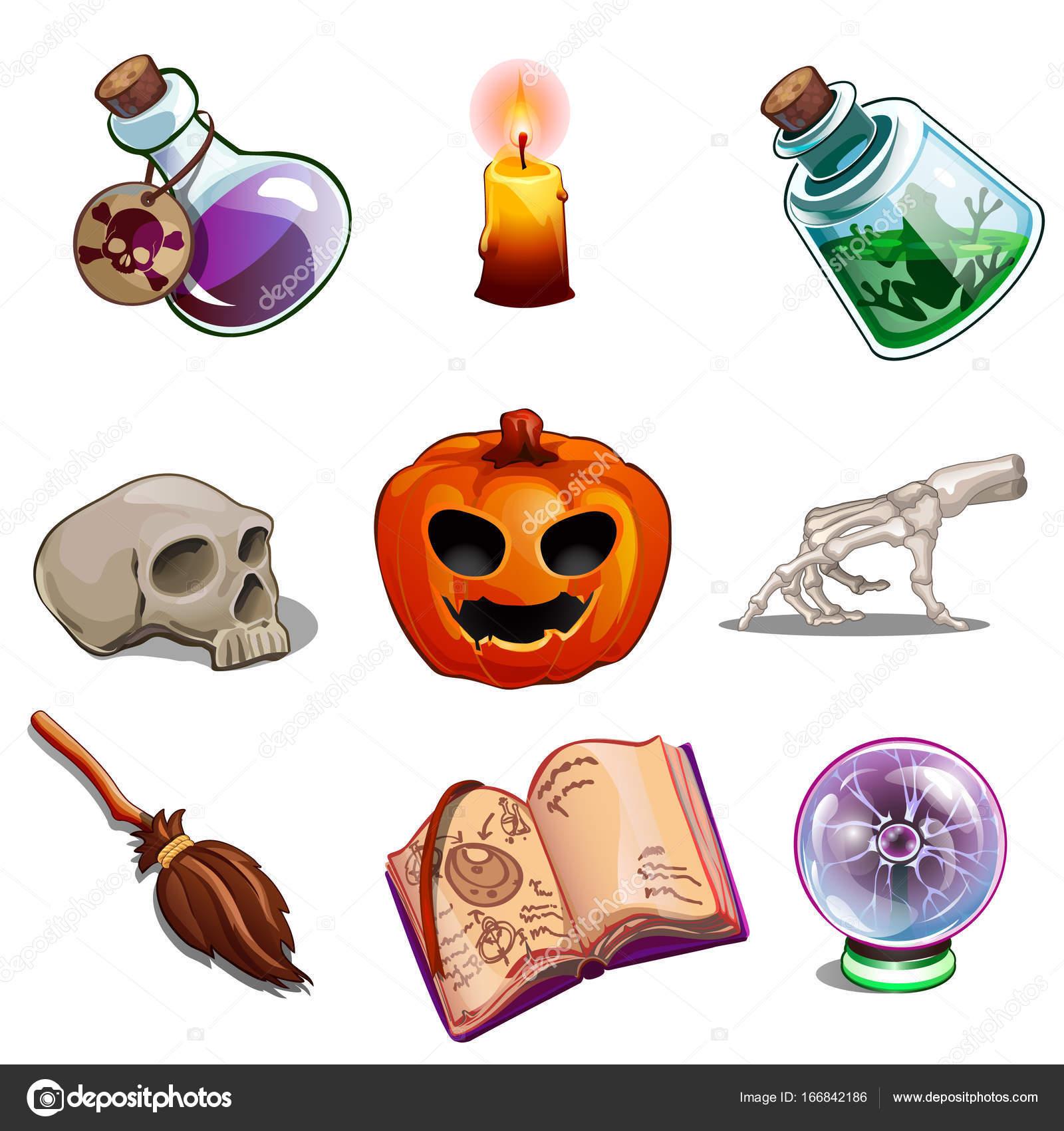 halloween spreuken Symbolen van Halloween   schedel van de mens, boek van spreuken  halloween spreuken