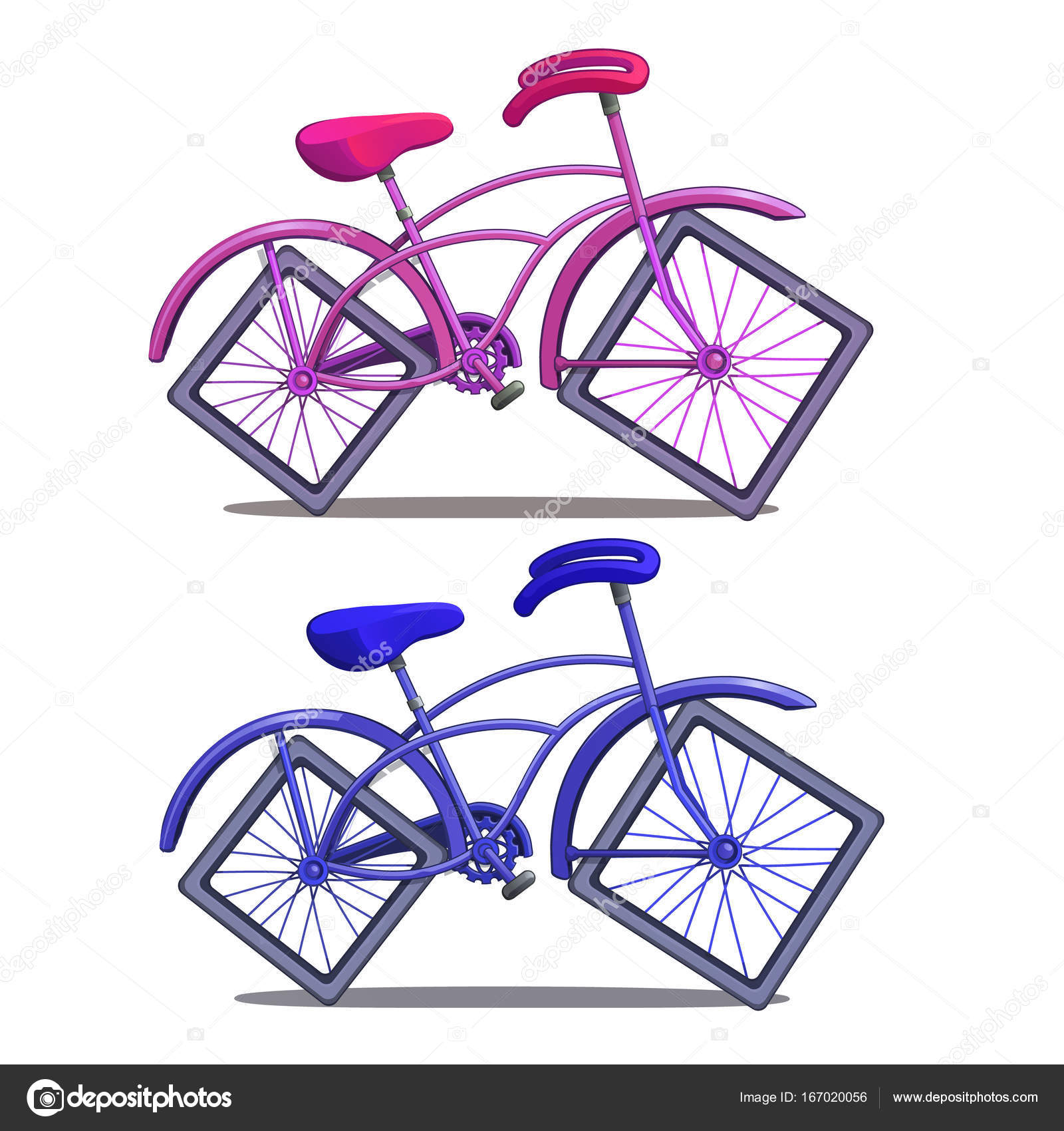 Rosa E Blu Biciclette Con Ruote Quadrate Isolato Su Priorità Bassa