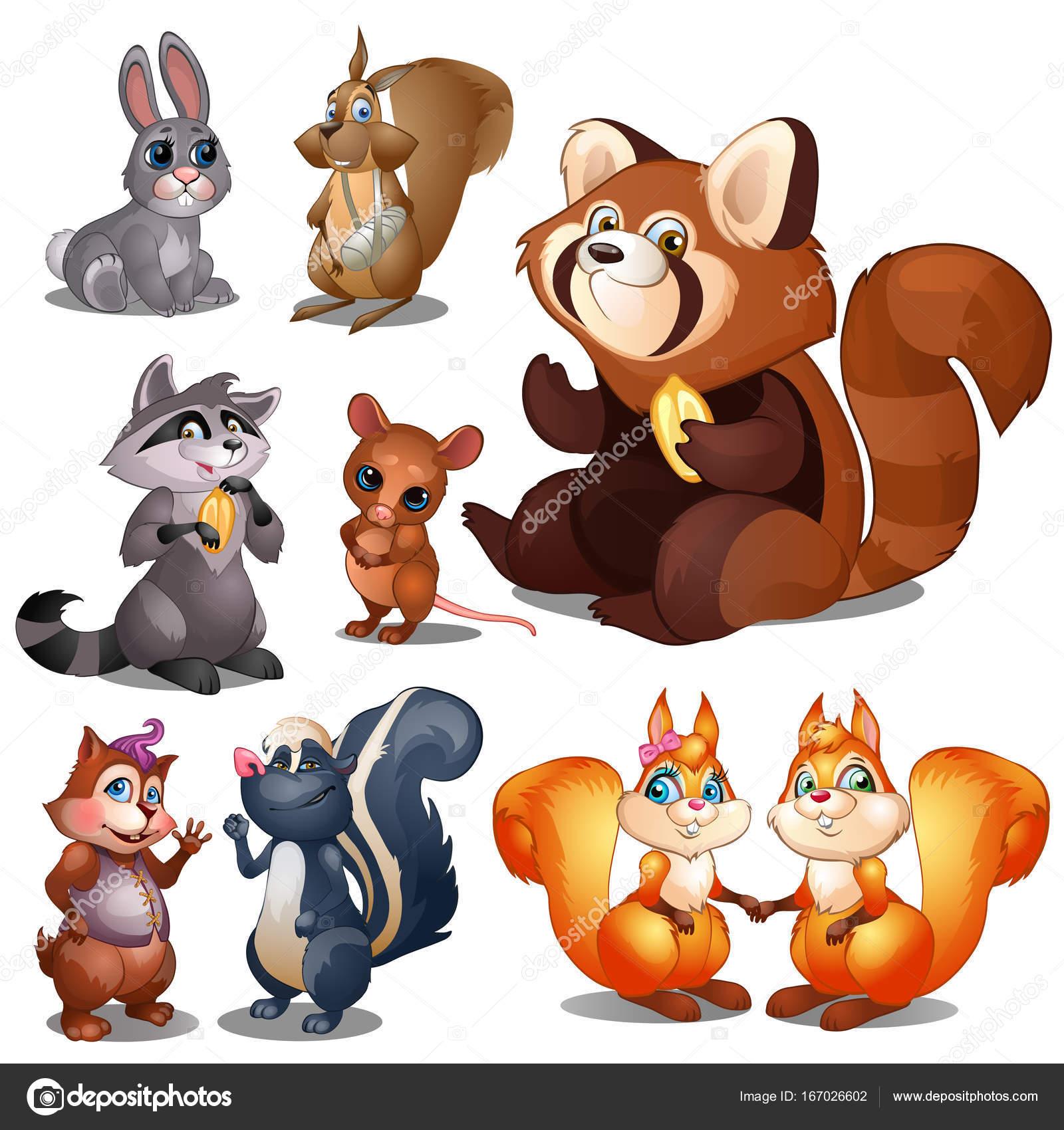ウサギ、アライグマ、リス、ビーバー、ハムスター、マウス、スカンク