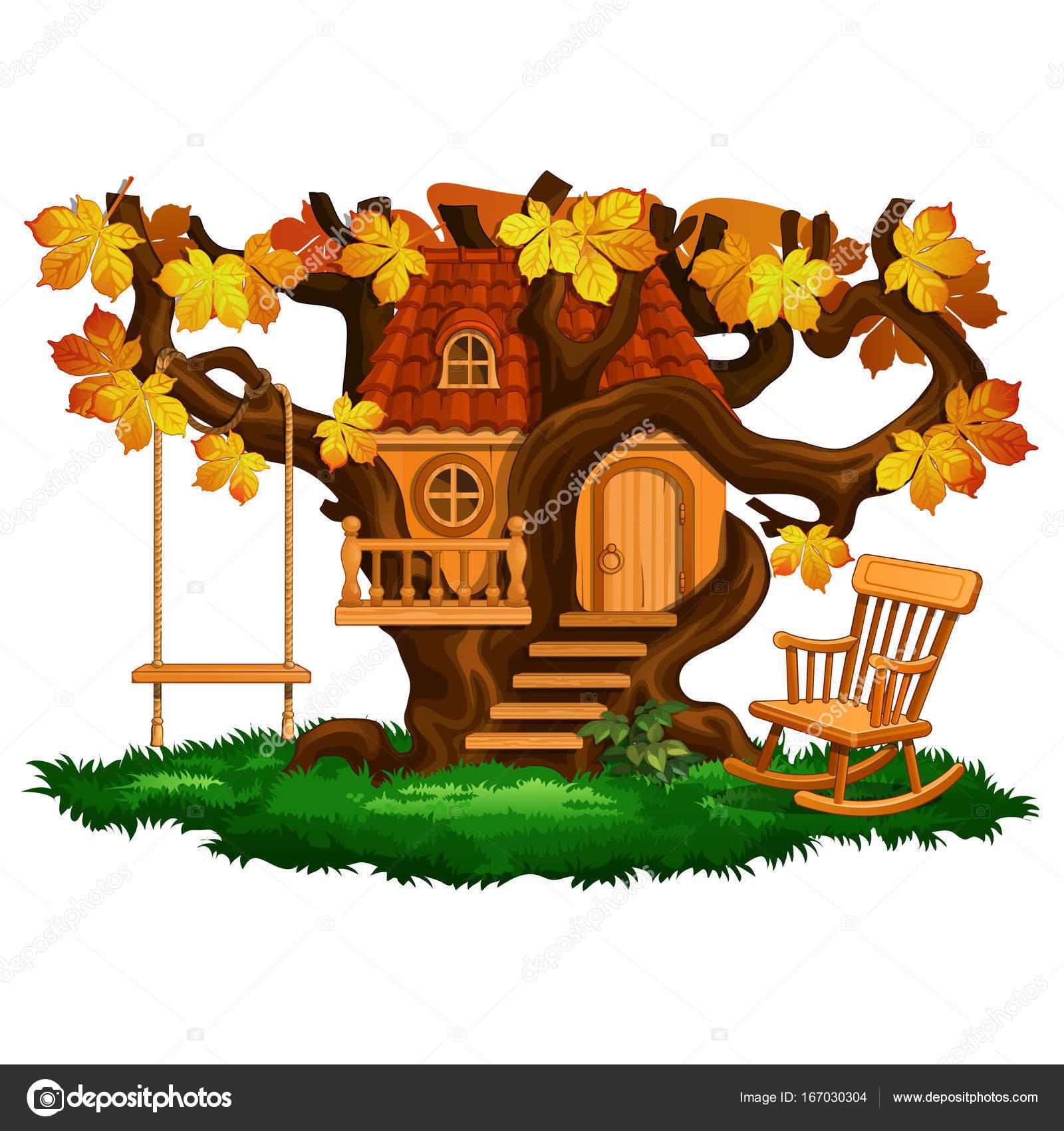Fabuleuse maison de larbre balançoire et chaise berçante saison dautomne scène de dessin animé de paysage illustration vectorielle isolée sur fond