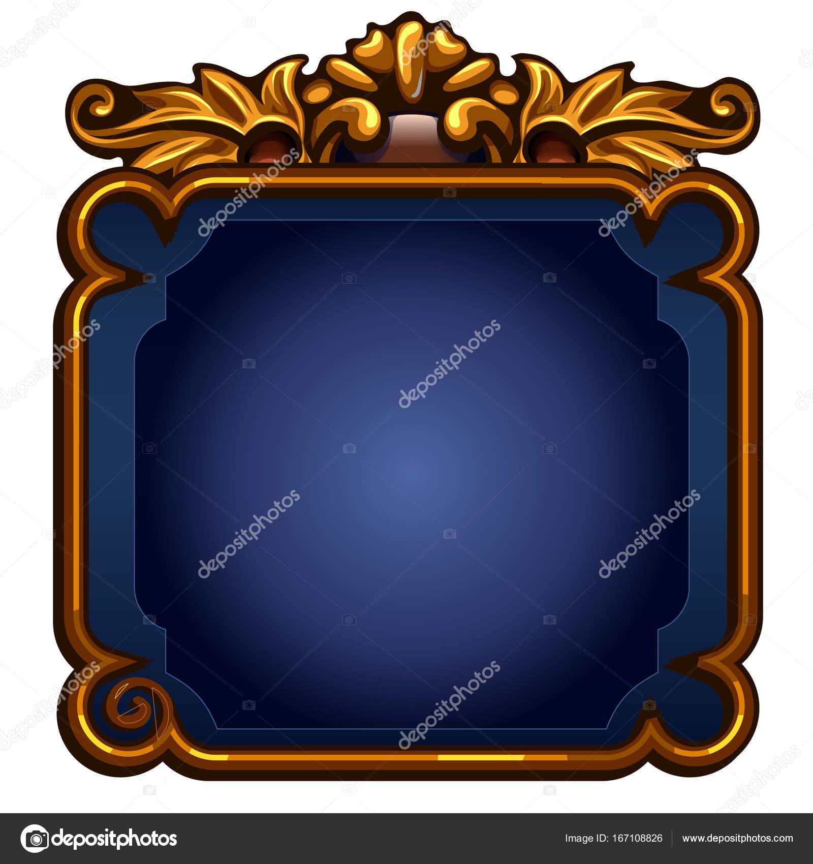 Juego pantalla azul con marco de oro. Ilustración de vector sobre ...