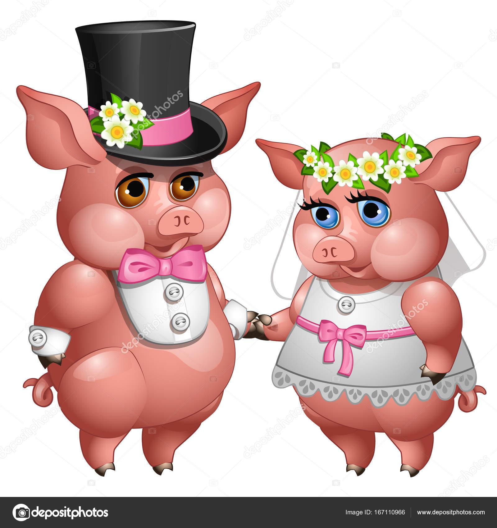 Matrimonio de cerdos novios en trajes de boda — Vector de stock ...
