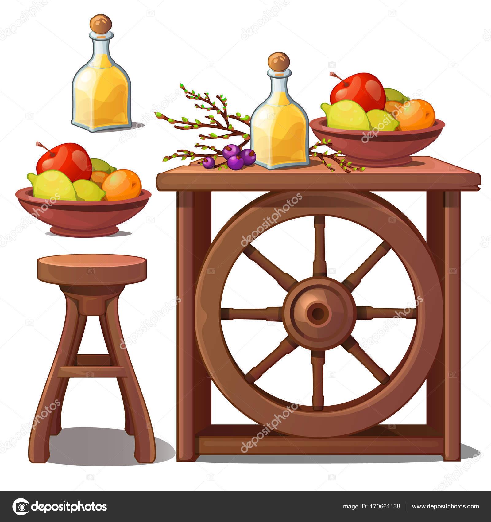 Muebles De Madera En Estilo R Stico Licor Y Frutas Vector  # Muebles Country De Madera