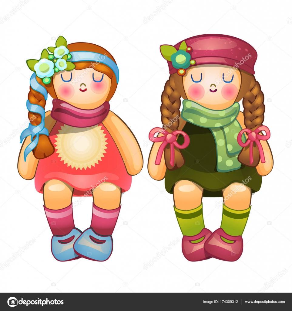 Chicas hermosas muñecas rellenas con largas trenzas. Juguete para niños.  Vector ilustración de dibujos animados estilo aislado sobre fondo blanco–  ... 964bfd22a655