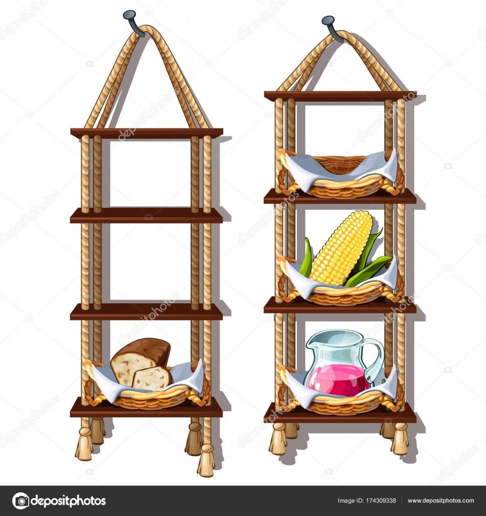 Colgar estantes de madera con comida y bebida. Almacenamiento ...