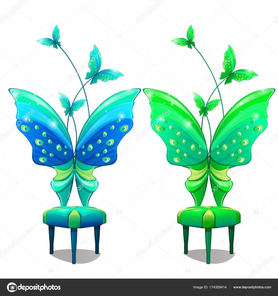 Sillas Con Respaldo En Forma De Mariposa Azul Y Verde Parte Del  # Muebles Cuento De Hadas