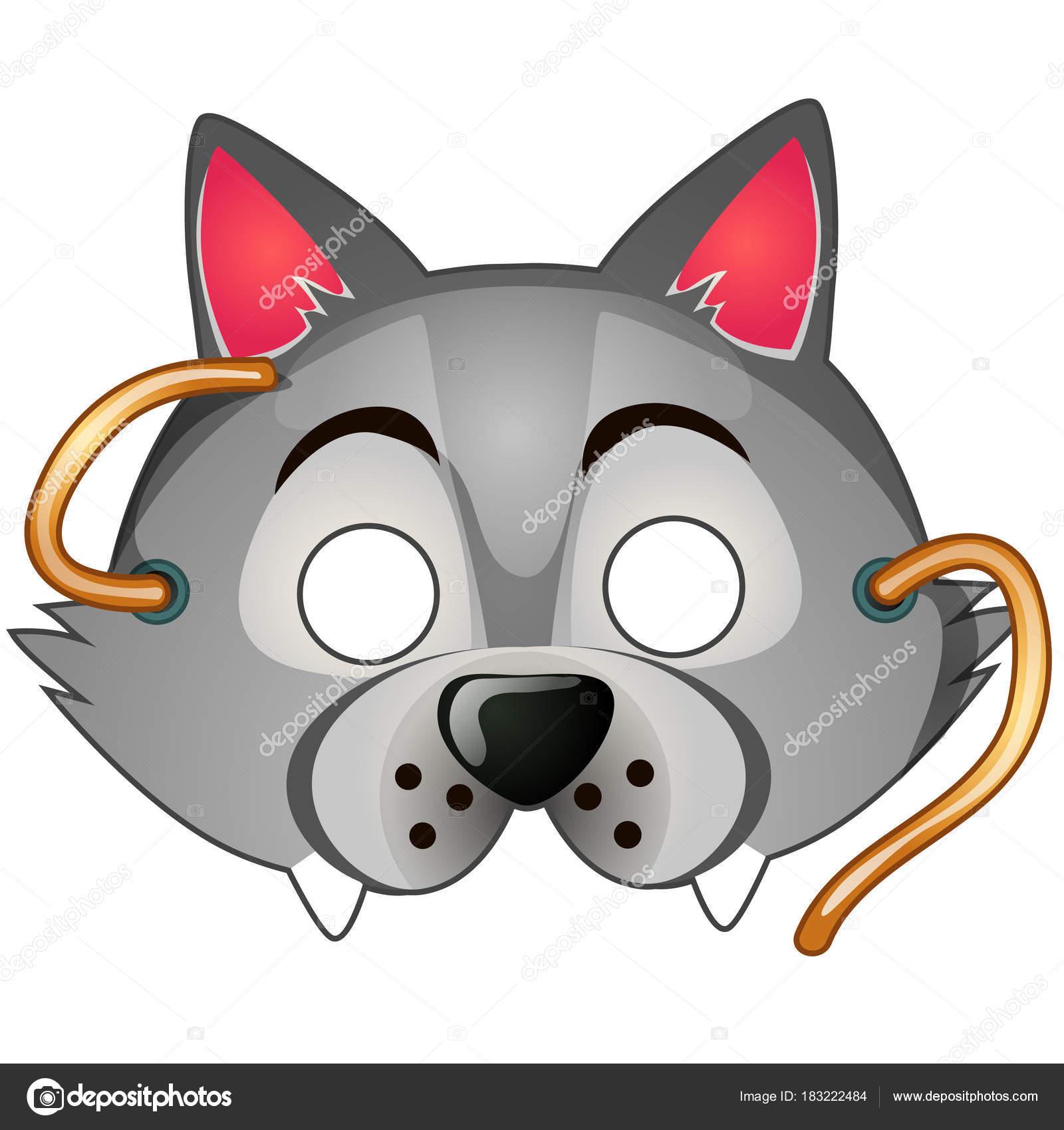 da1a5159ab9 Máscara de lobo engraçado com sequências de caracteres desenhadas no estilo  cartoon. Acessórios de carnaval e máscaras. Ilustração vetorial