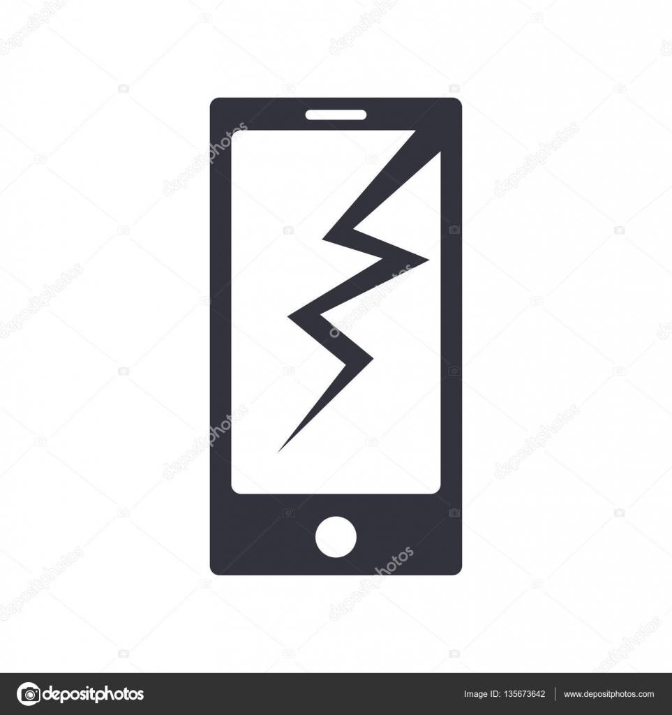 Sfondo Per Schermo Rotto Icona Telefono Rotto Semplice Di Vettore