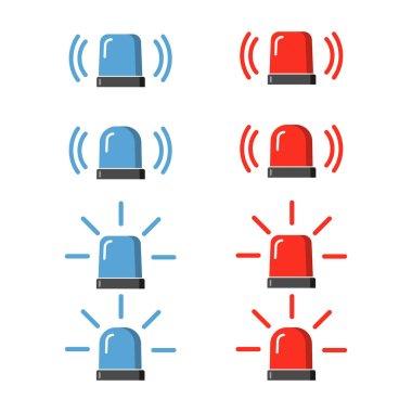Police flasher, siren vector set.