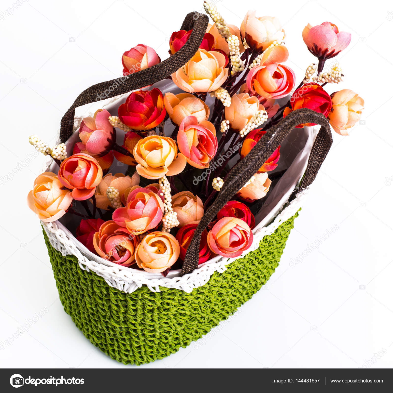 Green knitted decorative basket of flowers — Stock Photo ...