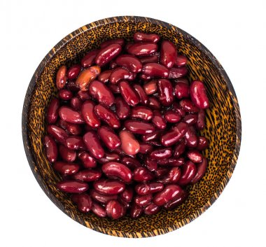 Red canned beans in wooden bowl on white background
