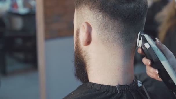 Barber shaving the hair in the barbershop 4K