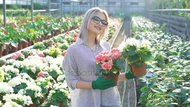 Happy smiling female gardener holding flowerpots 4K