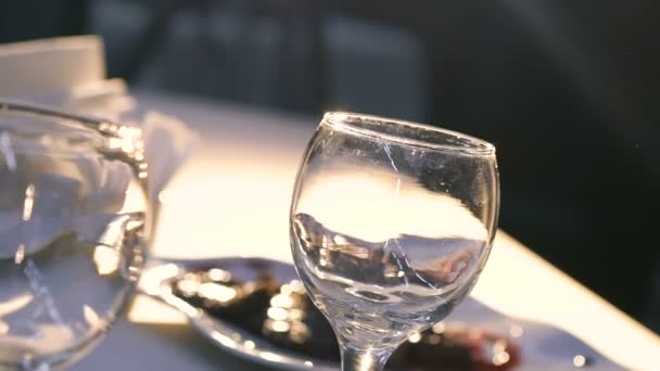 Close up of womans hand raises wine glass to light