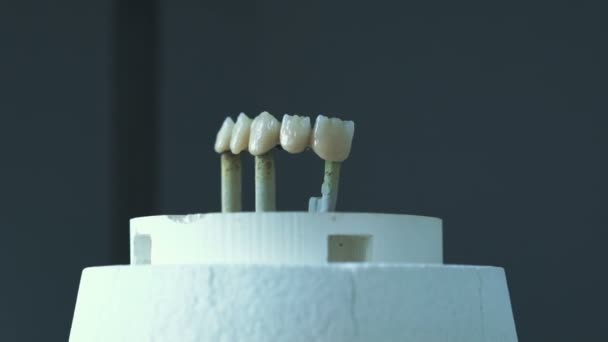 Close up of tooth crowns in an automatic furnace in lab