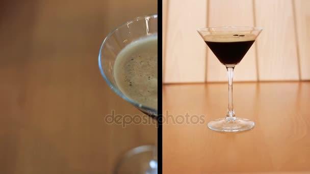 Sestřih z prezentace kávy koktejl s fazolemi na stole