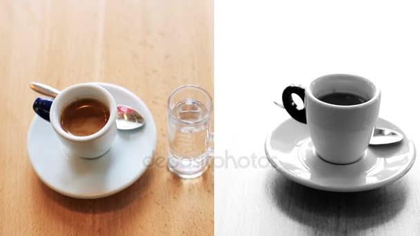 Sestřih ze dvou šálků espresso a americano na pozadí