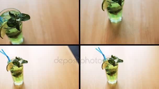 Sestřih čerstvý koktejl s greeny na stole