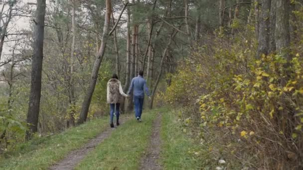 Young happy couple walking in beautiful autumn forest. 4K