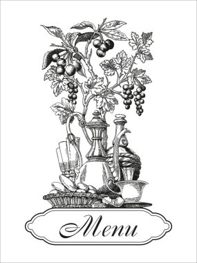 Menu. Wine. A restaurant. Vector vintage illustration.
