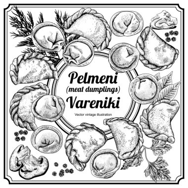Vareniki.Pelmeni. Meat dumplings. Food. Dill, parsley, black pepper, bay leaf. Cooking. National dishes. Dinner. Products from the dough and meat. Russian dish.