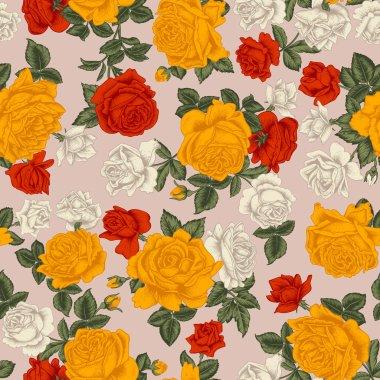 Roses. Seamless vector background. Vintage illustration.
