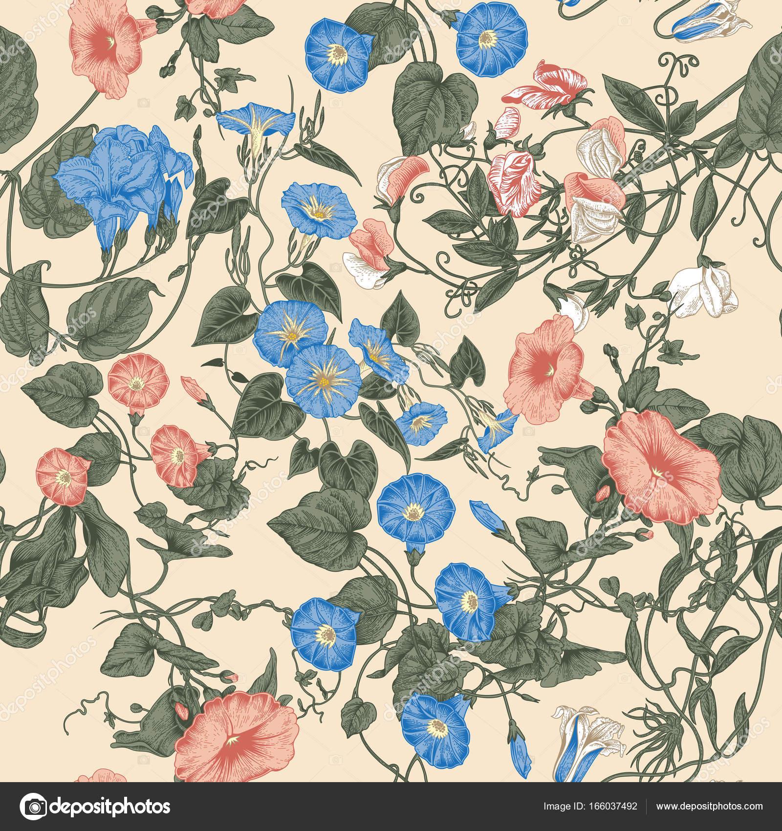Blumen. Gehäkelte Pflanzen. Nahtloser Vektor Hintergrund im Vintage ...