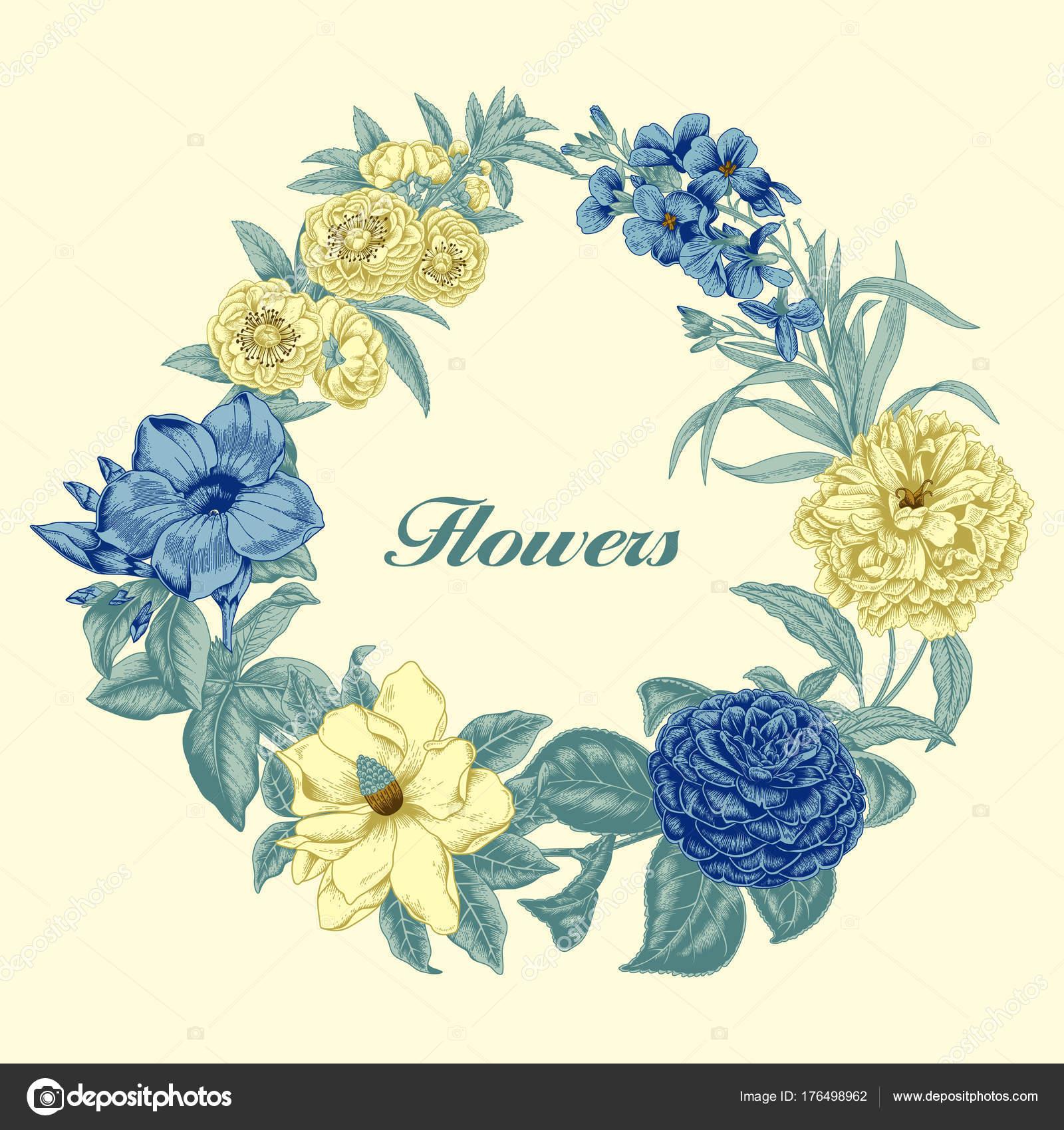 ビンテージ スタイルの古典的なポストカード 植物のイラスト 花飾り
