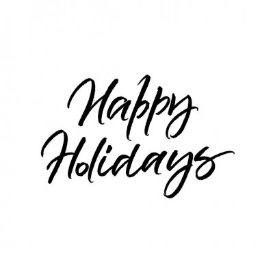 Happy Holidays brush calligraphy isolated on white background clip art vector