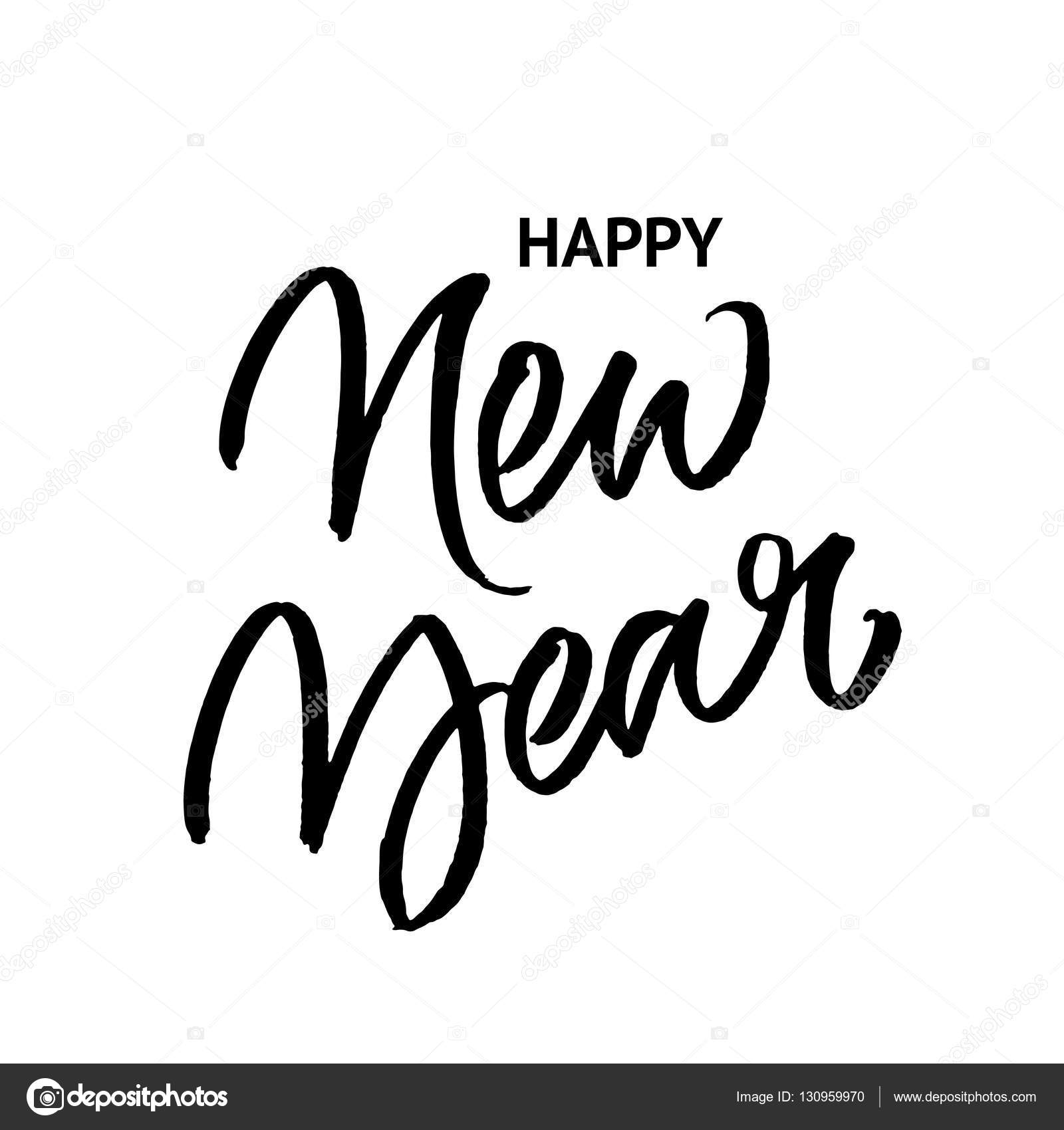 Happy new year brush calligraphy stock vector � ugina