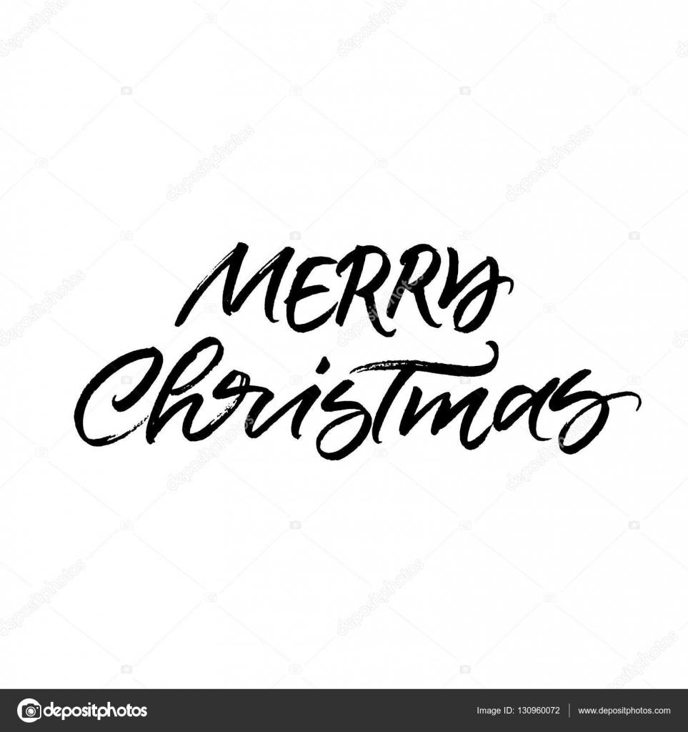 Merry christmas brush calligraphy — stock vector ugina