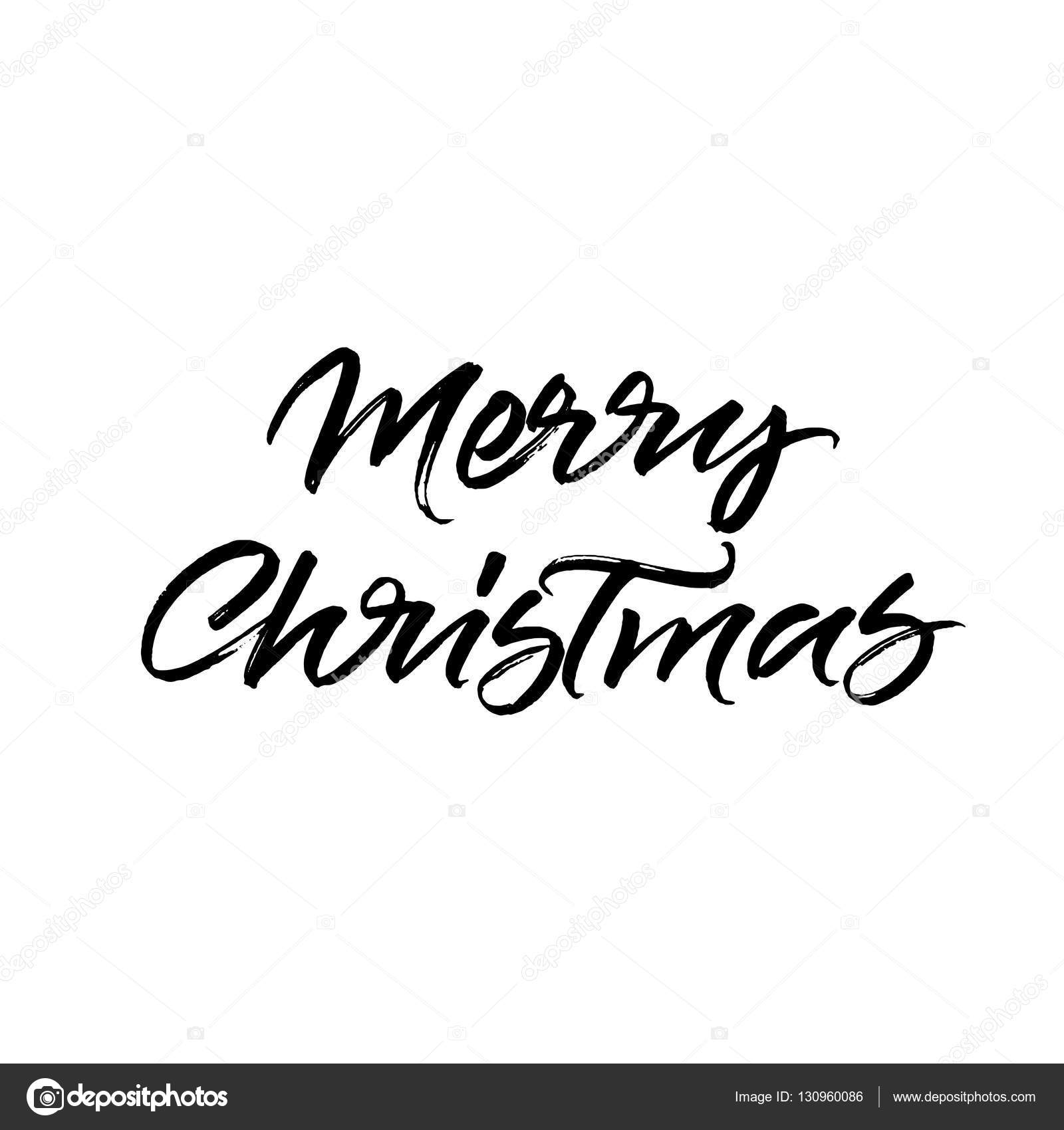 Merry Christmas Brush Calligraphy U2014 Stock Vector