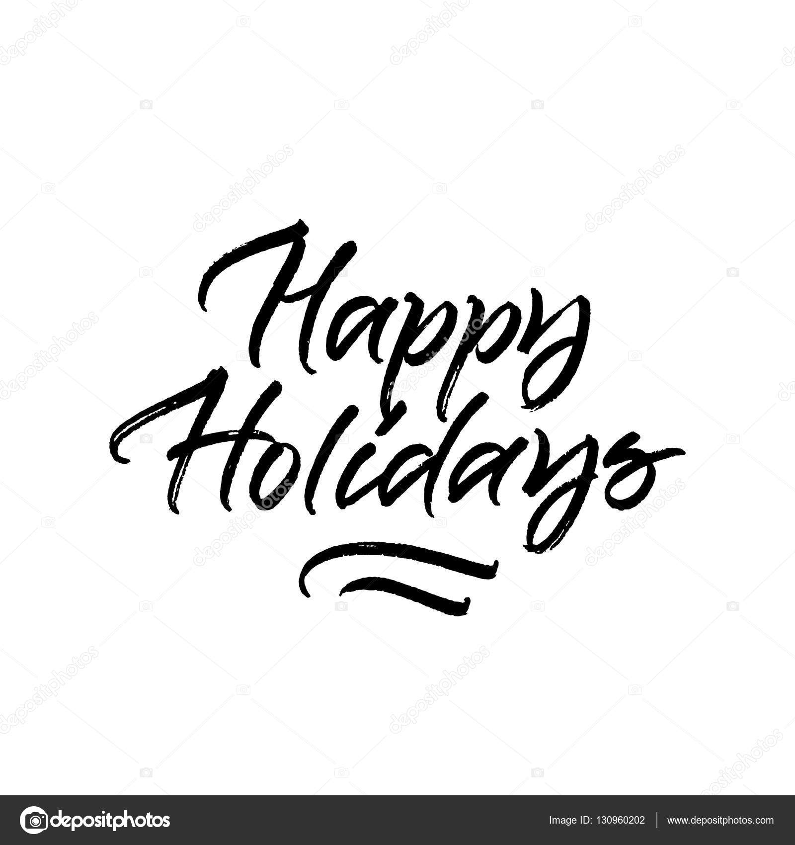 Happy holidays brush calligraphy stock vector � ugina