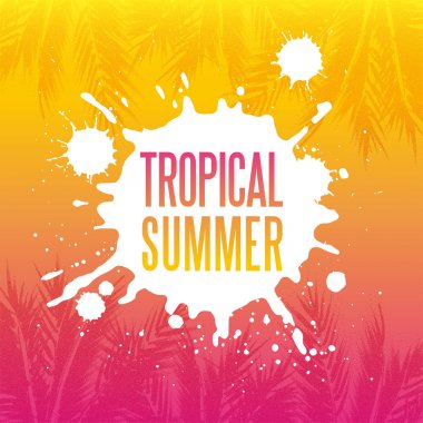 Tropical summer paradise background with stipple effect
