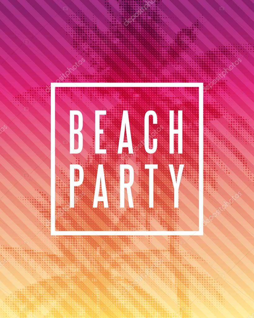 Tropical summer beach party poster design