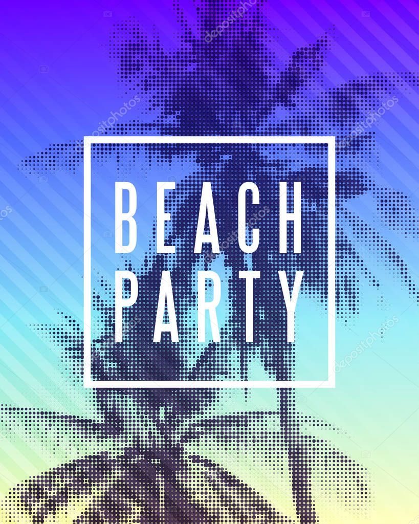Tropical summer beach party poster design